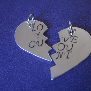 Love You C%nt Charms Best Friends BFF Bitches Mature Content Set of Two Charms. DIY add charms to your own necklace, keychain, bracelets