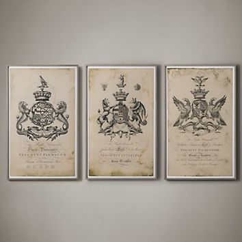 18TH C. ENGLISH ARMORIAL ENGRAVINGS | Restoration Hardware