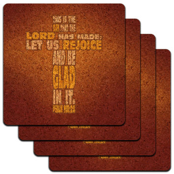 This is Day Lord Made Bible Verse Cross Psalm Religion Low Profile Cork Coaster Set