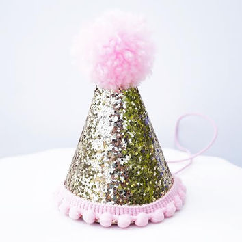 Gold Glitter Sparkles Pink Birthday Girl Cone Party Hat Toddler Pom Pom Party Hat Decor