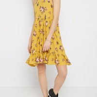 Mustard Floral High Neck Babydoll Dress | Casual Dresses | rue21