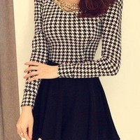 Women Round Neck Long Sleeve Houndstooth Printcorset Dress