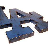 Wooden Los Angeles Sign (Pictured in Navy) Pine Wood Sign Wall Decor Rustic Americana Cottage Sport Sign