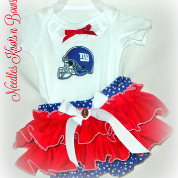 Girls New York Giants Cheerleader Outfit, Baby Girls Coming Home Outfit, Girls Giants Football Outfit
