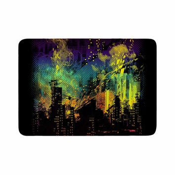 "Federic Levy-Hadida ""City Grid"" Black Rainbow Memory Foam Bath Mat"