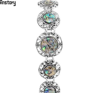 Round Shell Hollow Flower Bracelet For Women Antique Silver Plated Vintage Fashion Jewelry TB185