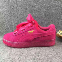 Puma  Rihanna Silk Bowknot Fashion Sport Casual Shoes Sneakers rose red