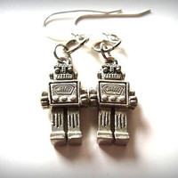 Robot Jewelry Geek Chic Earrings  Silver Robots by FireGrog