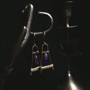 viona • amethyst earrings - brass geometric earrings - amethyst drop earrings - hammered brass earrings - witch jewelry -