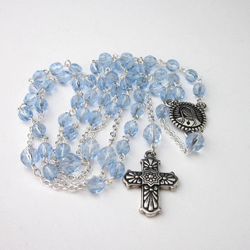 Light Blue Crystal Rosary Necklace, Traditional Catholic Rosary, Rosary Necklace, Long Length Rosary, Virgin Mary, Easter Gift, Prayer Beads