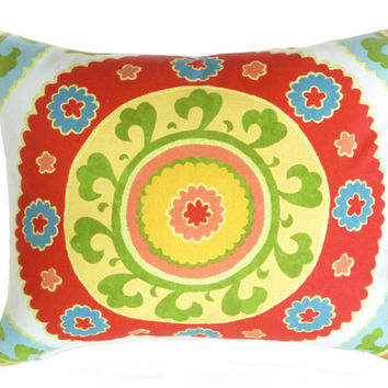 Suzani Decorative Pillows Bright Red and Yellow