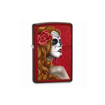 Zippo Day Of Dead Girl Candy Apple Red Lighter