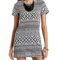 Aztec Print Knit Shift Dress by Charlotte Russe