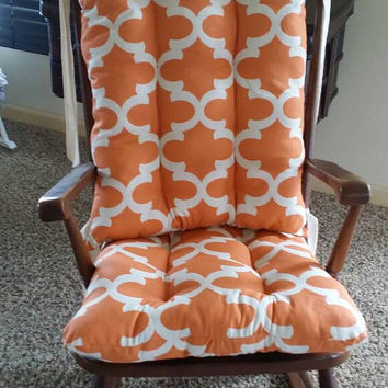Custom Cinnamon Fynn Quatrefoil Rocking Chair Cushions, Rocking Chair Pads