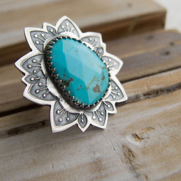 Sterling Silver Rings For Women, Turquoise Rings For Women, Flower Ring, Big Silver Rings, Sundance Style Jewelry, Statement Ring, OOAK
