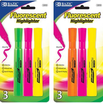 BAZIC Desk Style Fluorescent Highlighters (3/Pack) Case Pack 24