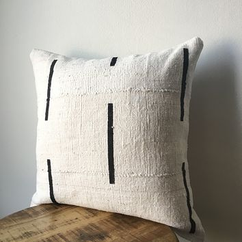 White and Black Dash or Dashed Line African Mudcloth Pillow Cover