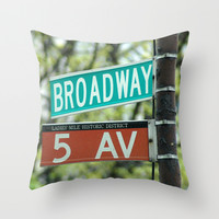 Sign Broadway 5 Ave Throw Pillow by Premiumfotograf