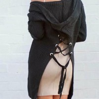 Black Pockets Cross Back Lace-up Hooded Slit Fall Long Cardigans Sweater