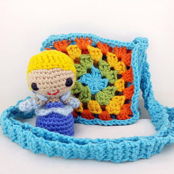 Girl's Crochet Bag - Child's Purse - Crossbody Bag - Blue Bag - Small Bag - Gift for Girls