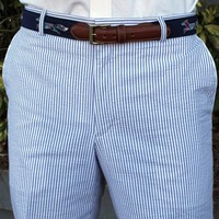 Elliewood Plain-front Pant in Blue Seersucker by Country Club Prep