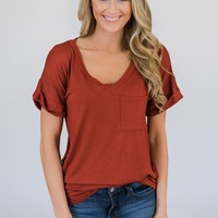 The Perfect Pocket Tee - Rust