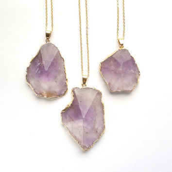Amethyst Necklace Pyramis Necklace Geometric Necklace Purple Stone Necklace Amethyst Jewelry Geometric Jewelry Boho Necklace Lavender Stone