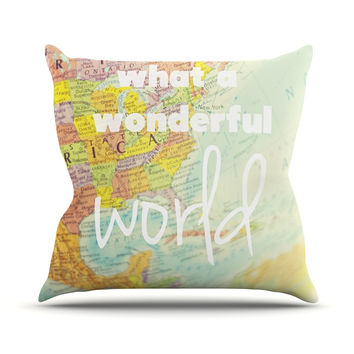 """Libertad Leal """"What a Wonderful World"""" Map Outdoor Throw Pillow"""