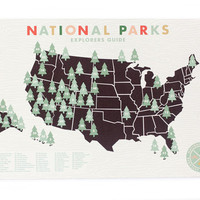 National Parks Map 11x17 print with stickers