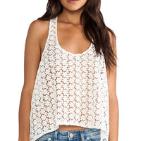 BB Dakota Aline Crochet Trapeze Tank in White