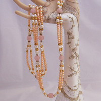 Freshwater Pearls and Rose Quartz Double Strand Necklace, Gemstone Necklace, Long Necklace