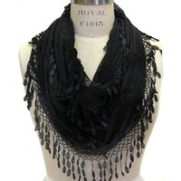 Scarfand's Infinity Scarf with Fringe (Black)