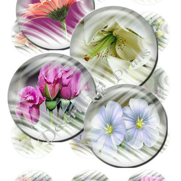 WILDFLOWERS - 1.0 inch Digital Collage Sheet Art for Bottle Caps, Bows, Jewelry, Arts and Crafts