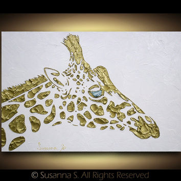 Original abstract giraffe painting contemporary fine art by Susanna Large 36x24 MADE2ORDER