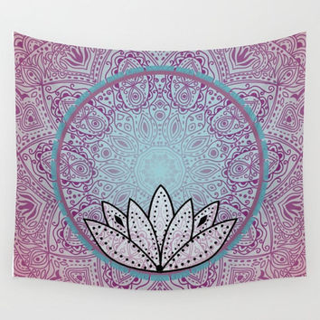 Pink Blue Lotus Mandala Tapestry Wall Hanging Meditation Yoga Grunge Hippie