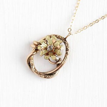 Antique Victorian Pendant - Rose & Yellow Gold Filled Flower Conversion Charm White Paste Necklace - Vintage 1890s Two Tone Floral Jewelry