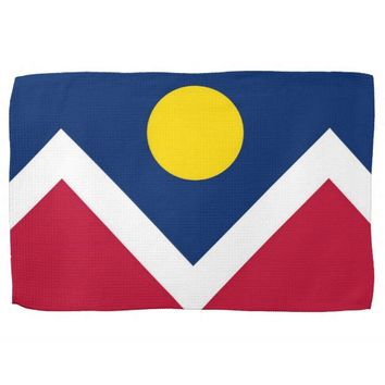 Kitchen towel with Flag of Denver, Colorado