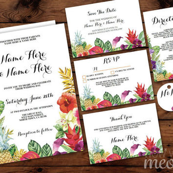 Wedding Invitations Aloha Floral Pack Luau Set Template Package Printable Invites Save The Date INSTANT DOWNLOAD Tags Rsvp Rustic Editable