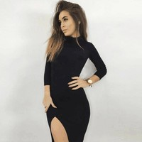 Long Sleeve Side Slit Turtle Neck Party Dress -3 Colors-