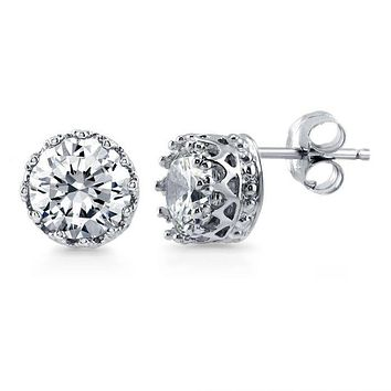 Perfect Royal Crown 1CT Round Cut Russian Lab Diamond Stud Earrings