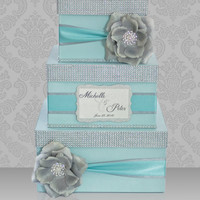 Card box / Wedding Box / Wedding money box - 3 tier - Personalized - Tiffany, Silver