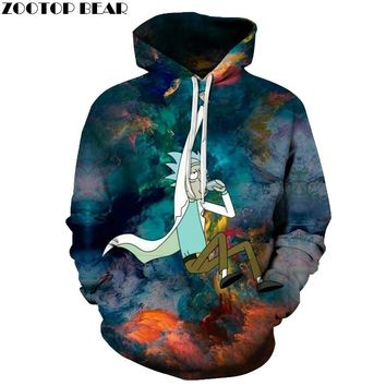 3D Hoodies Rick And Morty Hoodie SweatshirtS Men Tracksuits Casual Pullover Comic Streetwear Fashion Coats Male Funny Hoody 2018