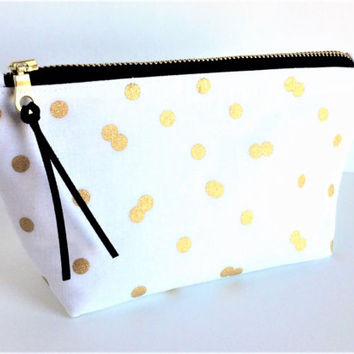 Small Makeup Bag, Polka Dot Makeup Bag, White Makeup Bag, Brides Makeup Bag