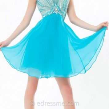 A-Line Chiffon Mini Prom Gown by Tony Bowls Shorts