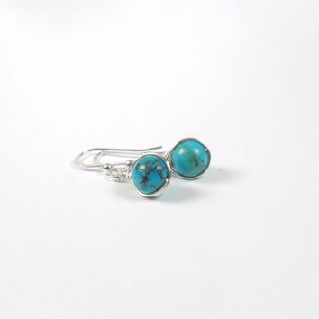 Natural Turquoise Herringbone Wire Wrapped Drop Earring Sterling Silver - Semi Precious Earring - Simple Jewellery