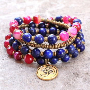 Grounding and Compassion, Pink Agate and Lapis Lazuli 54 bead wrap mala bracelet or necklace