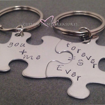 Couples Keychains, You and Me Forever and Ever, Stamped Stainless steel puzzle pieces, Set of 2 Couples Gift, Stocking Stuffer