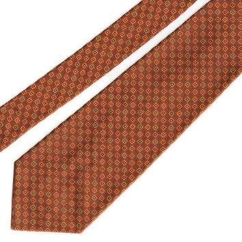 Vintage Wide Tie, 100% Dacron, hand washable, fresh and ready to wear, brown gold, green for your Autumn wardrobe