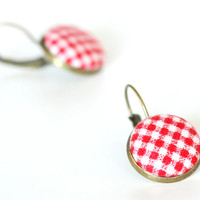 Red Leverback Earrings - Red and White Gingham - Summer Berries Fresh Fabric Covered Buttons Earrings