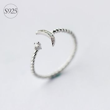 925 Sterling Silver White jewelry CZ Twisted Roped Crescent Moon Star Ring Thin Adjustable charming GTLJ936